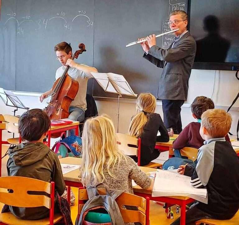 Ensemblet møder børnene i klassen, foto: Bjørn Meldgaard