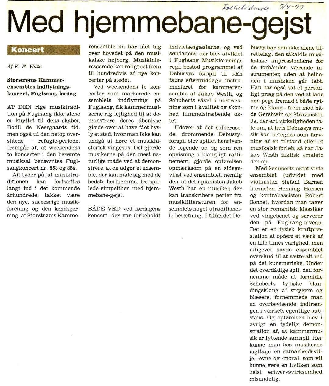 Artikel, Folketidende, april 1997