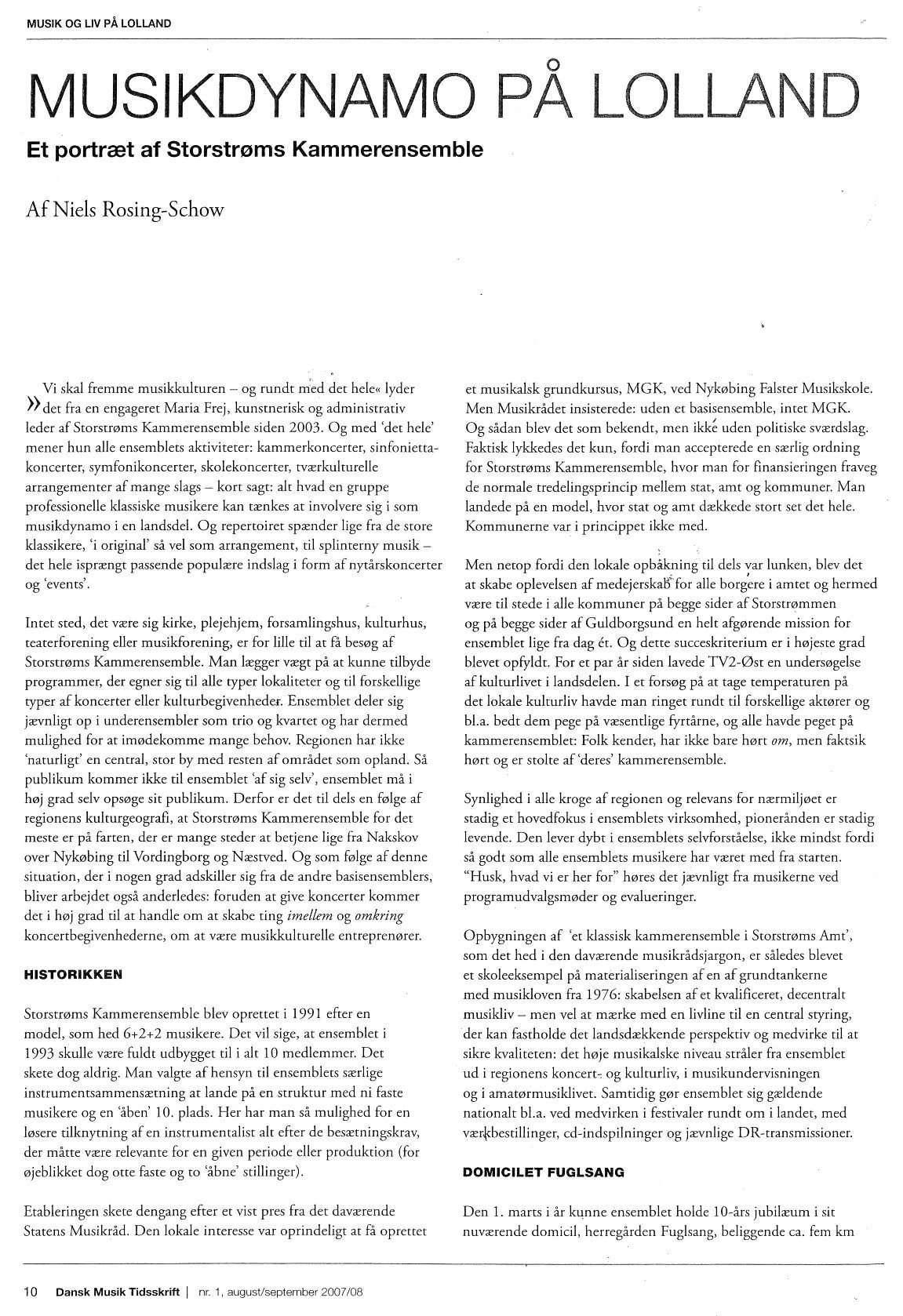Del 1 af artikel i DMT, 2007