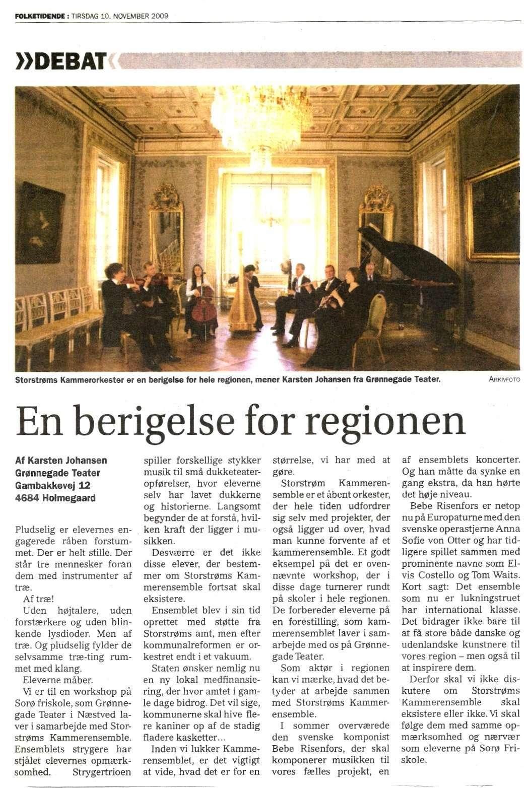 Indlæg i Folketidende, nov. 2009